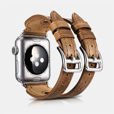 Classic Series Double Buckle Cuff Genuine Leather Watchband For Apple Watch