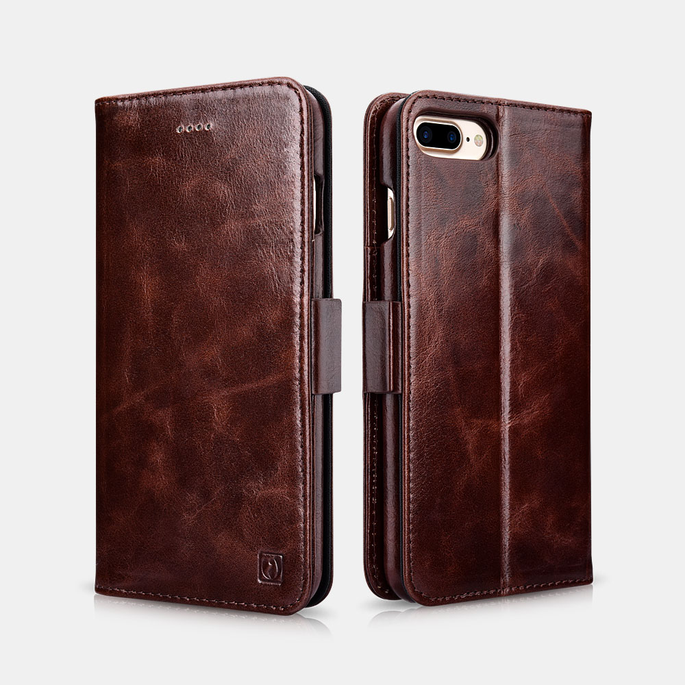 Oil Wax Leather Detachable 2 in 1 Wallet Folio Case For iPhone 7 Plus/8 Plus