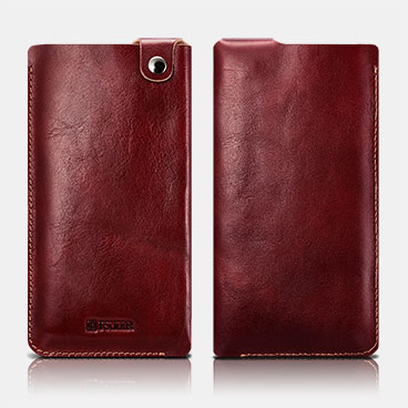 Vegetable Tanned Leather 5.5inch Straight Leather Pouch Universal Mobile Phone Pouch