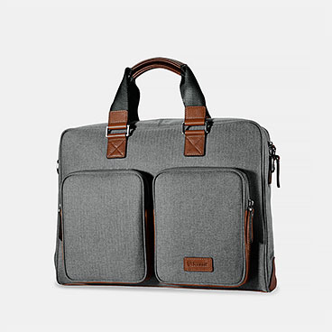 Classic Top Fabric and Genuine Leather Business Handbag Briefcase Shoulder Messenger Satchel Bag(Appropriate Size)