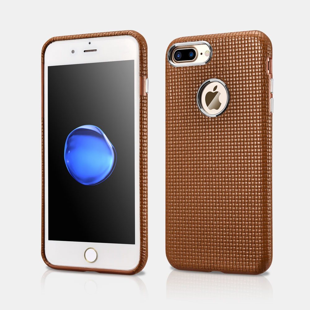 Woven Pattern iPhone 7 Plus Real Leather Cover