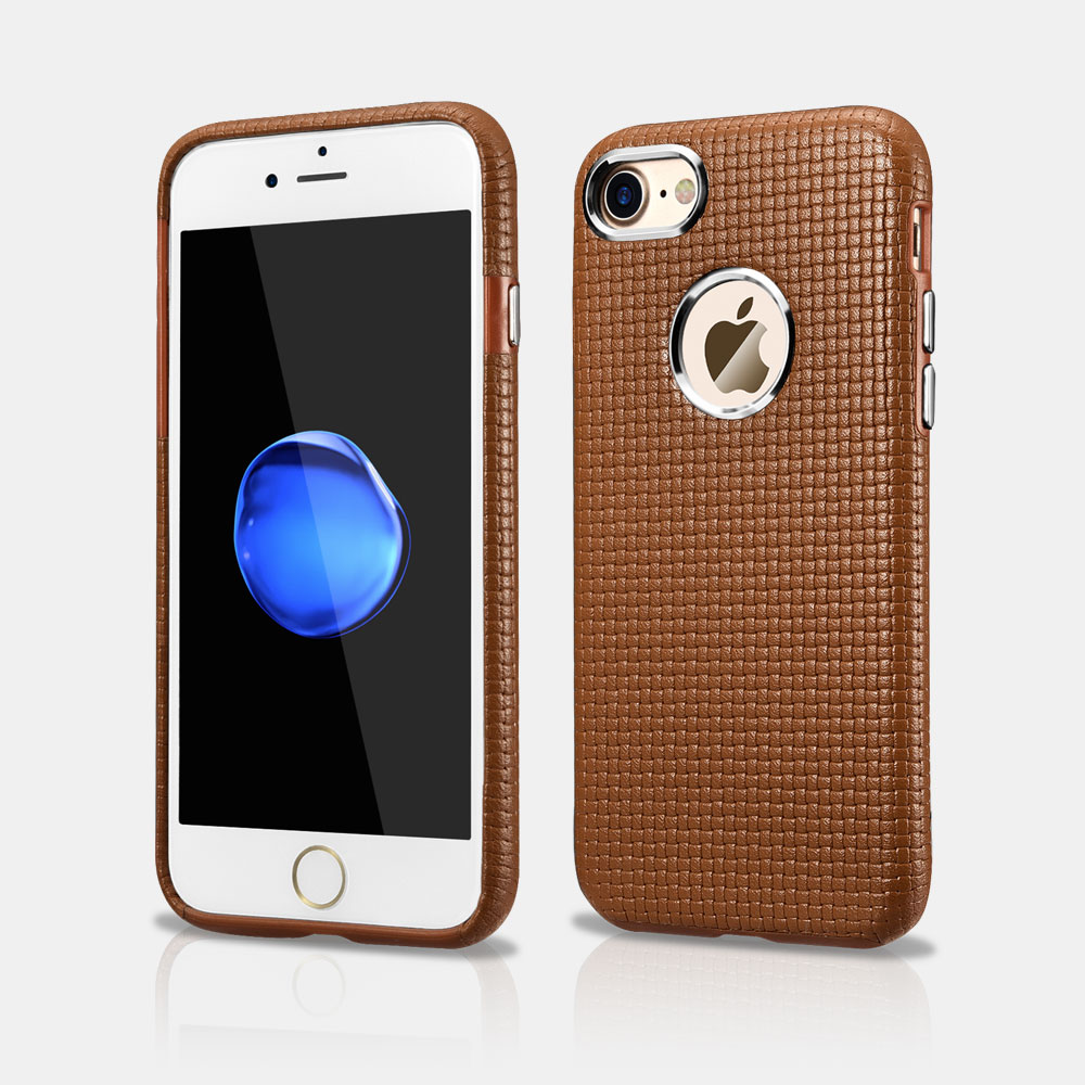 Woven Pattern iPhone 7 Real Leather Case