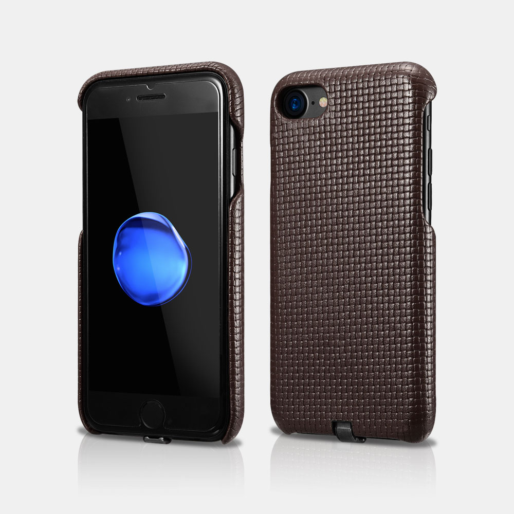 Woven Pattern Series Real Leather Back Cover Case with Charging Connector For iPhone 7