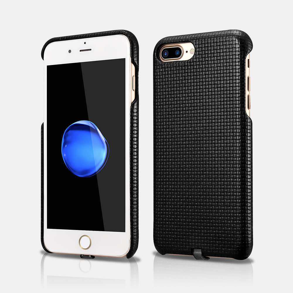 Woven Pattern Series Real Leather Back Cover Case with Charging Connector For iPhone 7 Plus