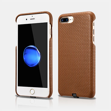 Woven Pattern Real Leather Back iPhone 7 Plus Cover with Charging Connector