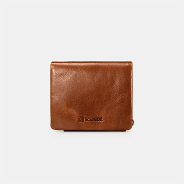 Vegetable Tanned Leather Portable Wallet with One ID Window and Six Card Slots