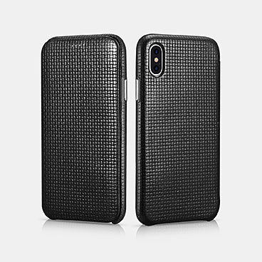 iPhone X Woven Pattern Series Curved Edge Real Leather Folio Case