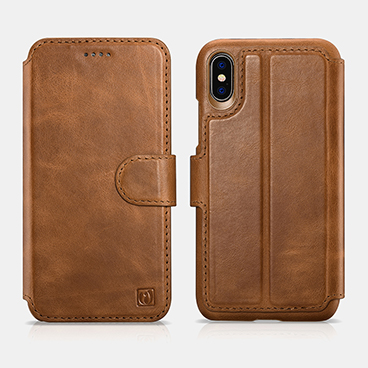 iPhone X Distinguished  Series Real Leather Detachable 2 in 1 Wallet Folio Case