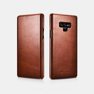 Note 9 Curved Edge Real Leather Flip Case