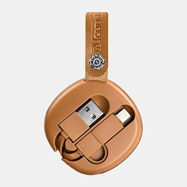 ICARER Real Leather Retractable 2 in 1 Charging Cable (Micro+Lightning)