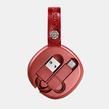 ICARER Real Leather Retractable 2 in 1 Charging Cable(Micro+TP-C)