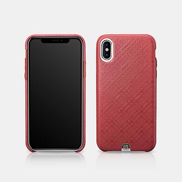 iPhone X/XS Real Leather Check Pattern Luxury Back Cover Series