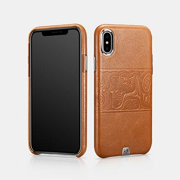 iPhone X/XS Real Leather Totem Pattern Back Cover Series