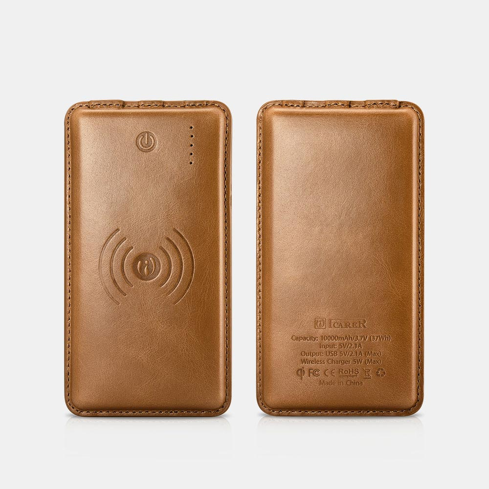 10000mAh Vintage Series Real Leather Wireless Portable
