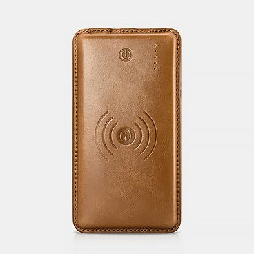 10000mAh Vintage Series Real Leather Wireless Portable Charger Power Bank