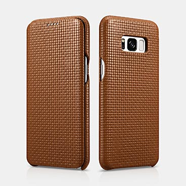 Woven Pattern Real Leather Folio SAMSUNG Galaxy S8 Plus Case