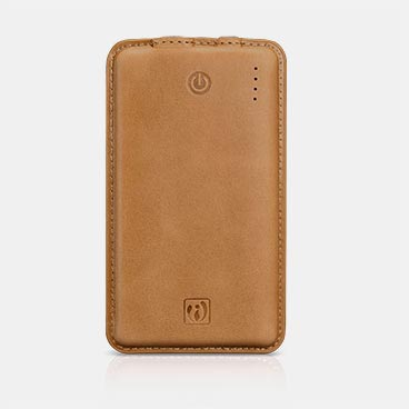 8000mAh Genuine Leather Portable Power Bank