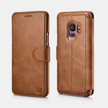 Samsung S9 Distinguished Series Real Leather Detachable 2 in 1 Wallet Folio Case with Magnetic closure