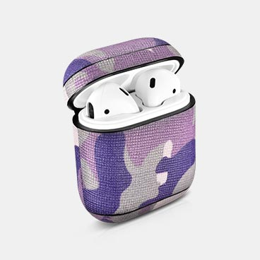 Camouflage Pattern Series Real Leather Airpods Protective Case