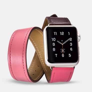 44mm/42mm Wholesale Leather Apple Watch Band Supplier Hermes Cow Leather Double Tour