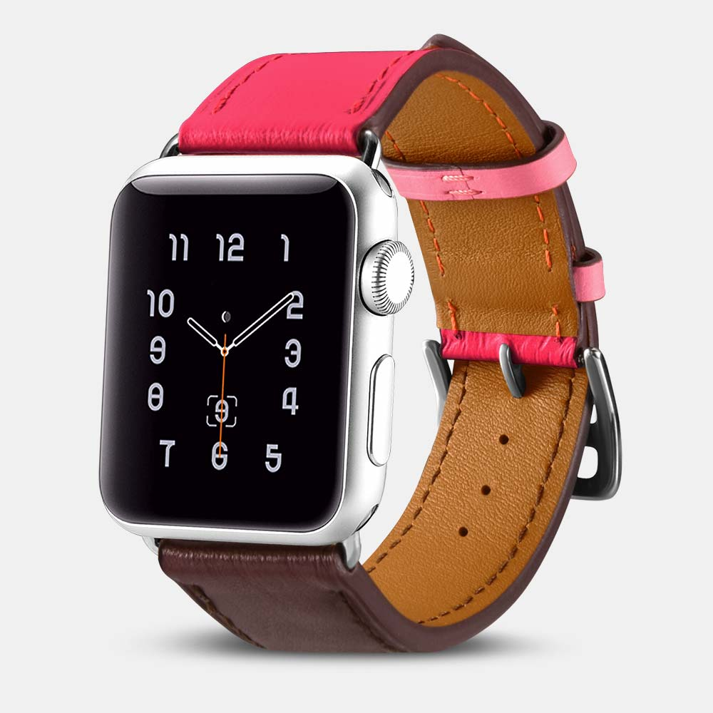 40mm/38mm Custom Handmade Leather Apple Watch Band Hermes Cow Leather Single Tour