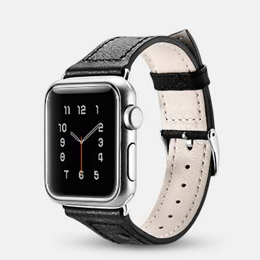 Ostrich Pattern Genuine Cowhide Leather Watchband for iWatch 42mm/44mm