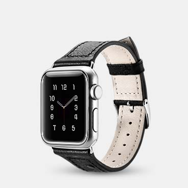 Ostrich Pattern Genuine Cowhide Leather Watchband for iWatch 38mm/40mm