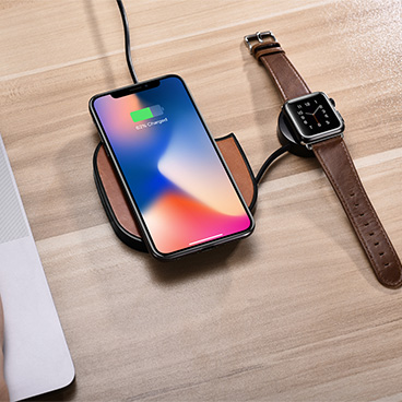 2 in 1 Leather Stretchable Fast Wireless Charger
