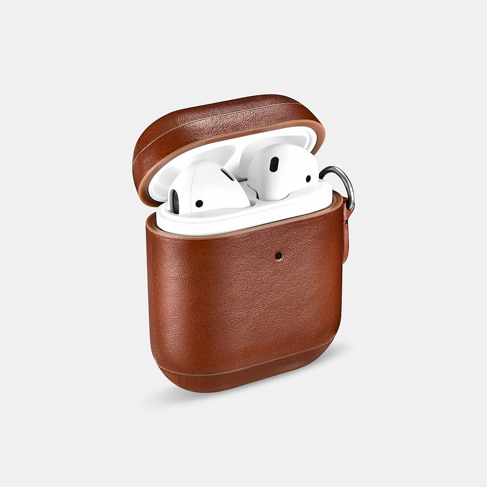 Vintage Leather Airpods Protective Case with LED Indicator Hole (with Wrist Strap Lanyard)