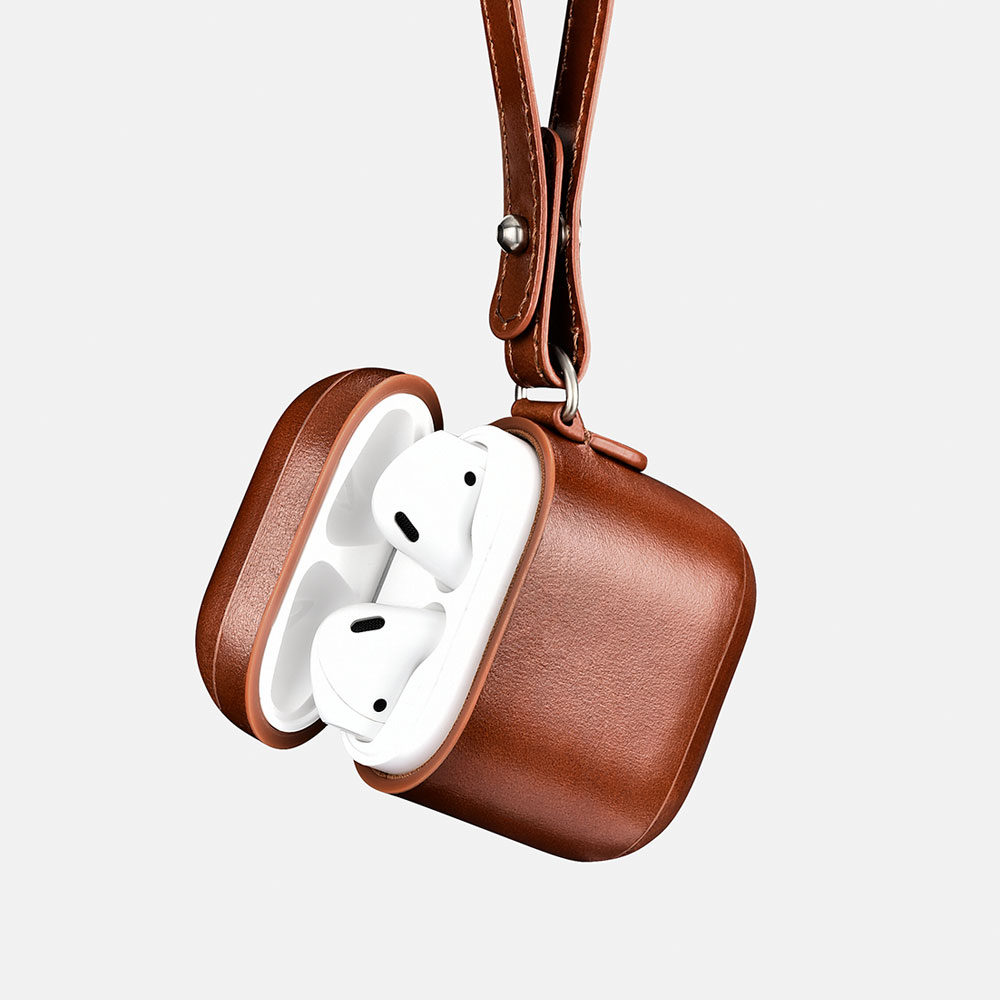Vintage Leather Airpods Protective Case(with Wrist Strap Lanyard)
