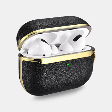 Airpods Pro Gold Electroplating TPU+PU Leather Protective Case(With Silver Carabiner)