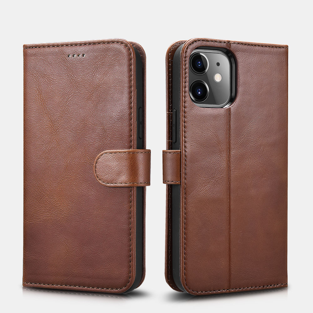 iPhone 12&12 Pro Crazy Horse Real Leather Detachable 2 in 1 Wallet Phone Case with RFID