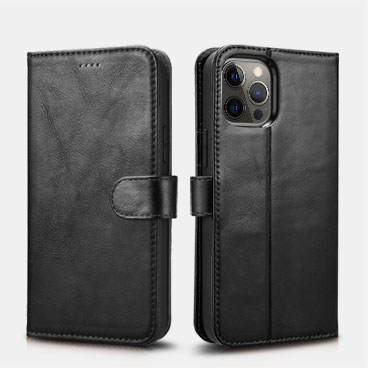 iPhone 12 Pro Max Crazy Horse Real Leather Detachable 2 in 1 Wallet Phone Case with RFID