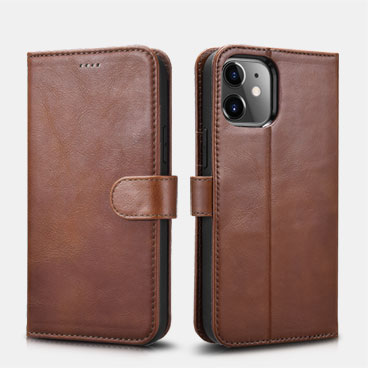 iPhone 12 mini Crazy Horse Real Leather Detachable 2 in 1 Wallet Phone Case with RFID